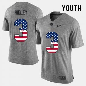 #3 Calvin Ridley Alabama Jersey US Flag Fashion Gray For Kids 247442-880