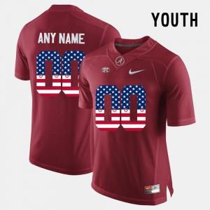 Alabama Custom Jersey US Flag Fashion #00 For Kids Crimson 953859-484