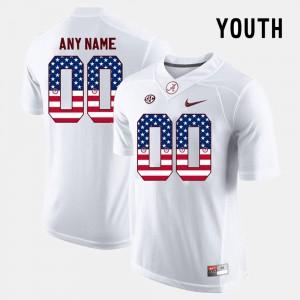 #00 Kids US Flag Fashion Alabama Customized Jersey White 620851-374