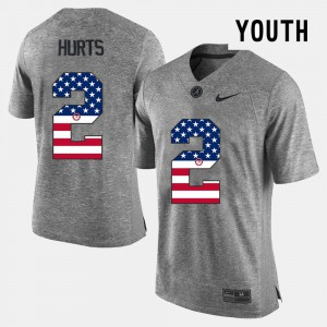 Kids Gray Jalen Hurts Alabama Jersey US Flag Fashion #2 456159-334
