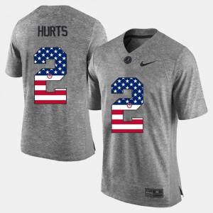 Jalen Hurts Alabama Jersey #2 US Flag Fashion For Men's Gray 708410-554
