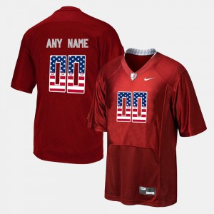 Red US Flag Fashion Alabama Custom Jerseys For Men's #00 995161-597