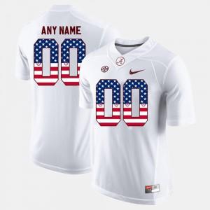 Alabama Customized Jerseys Men's #00 US Flag Fashion White 564226-470