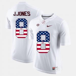 For Men's US Flag Fashion Julio Jones Alabama Jersey White #8 509789-500