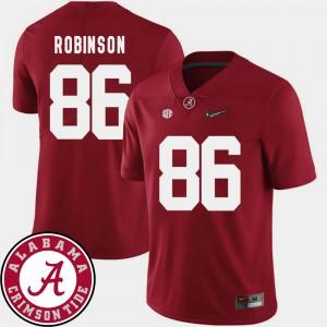 Mens 2018 SEC Patch College Football A'Shawn Robinson Alabama Jersey Crimson #86 651341-634