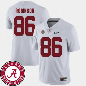 A'Shawn Robinson Alabama Jersey College Football 2018 SEC Patch White Men's #86 773959-188