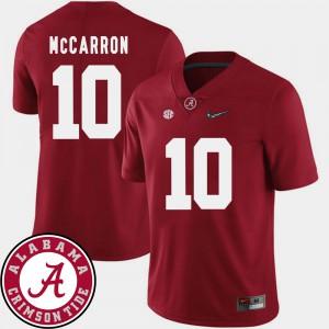 2018 SEC Patch AJ McCarron Alabama Jersey College Football #10 Men's Crimson 987399-920