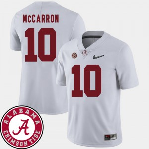 AJ McCarron Alabama Jersey College Football White #10 2018 SEC Patch For Men 247650-727
