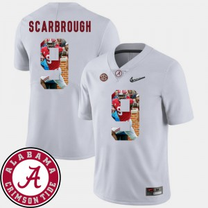 Men's #9 Pictorial Fashion Bo Scarbrough Alabama Jersey Football White 289381-209