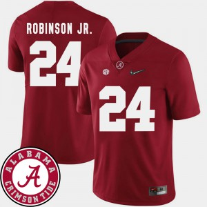 #24 For Men's College Football Crimson Brian Robinson Jr. Alabama Jersey 2018 SEC Patch 148622-552