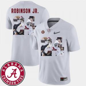 Football Brian Robinson Jr. Alabama Jersey Mens #24 Pictorial Fashion White 304310-131