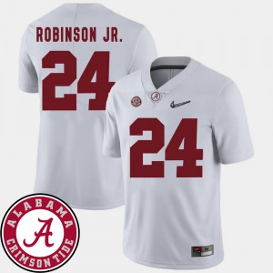 #24 2018 SEC Patch Brian Robinson Jr. Alabama Jersey White Men College Football 410421-700