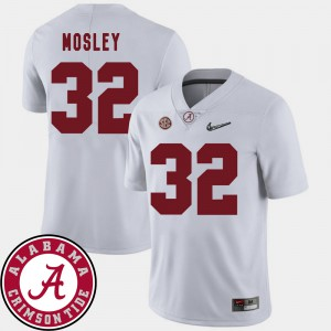 College Football White C.J. Mosley Alabama Jersey #32 2018 SEC Patch Mens 972965-968