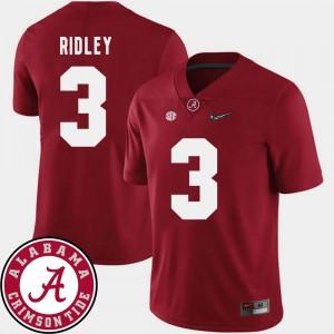 Crimson College Football Mens #3 Calvin Ridley Alabama Jersey 2018 SEC Patch 977011-616