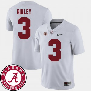 For Men 2018 SEC Patch #3 College Football Calvin Ridley Alabama Jersey White 393294-653
