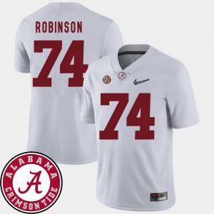 2018 SEC Patch White College Football Mens #74 Cam Robinson Alabama Jersey 583851-880