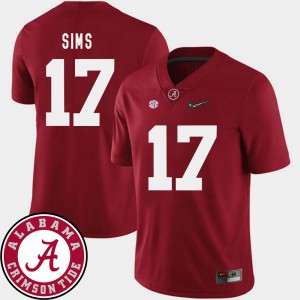 College Football For Men's #17 2018 SEC Patch Crimson Cam Sims Alabama Jersey 565551-814
