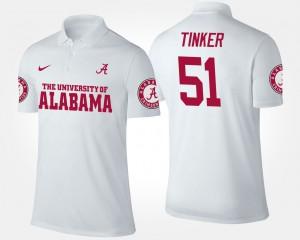 Men Carson Tinker Alabama Polo #51 White 947918-338