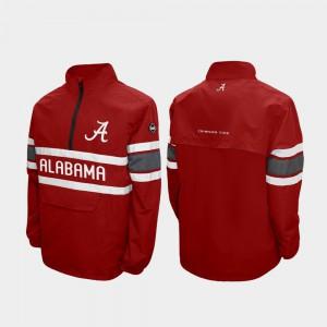For Men's Alpha Windshell Pullover Quarter-Zip Crimson Alabama Jacket 454100-212