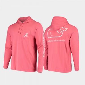 Whale Men's Hooded Long Sleeve Crimson Alabama T-Shirt 654006-453