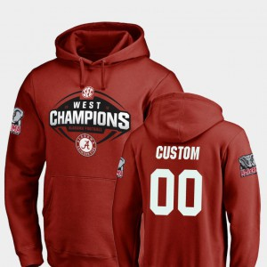 2018 SEC West Division Champions Football #00 Alabama Custom Hoodie For Men's Crimson 732619-558