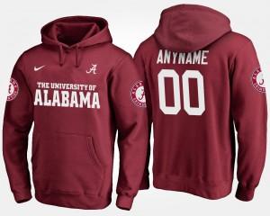 Alabama Customized Hoodie #00 Crimson For Men 323694-670