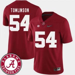 Crimson #54 Dalvin Tomlinson Alabama Jersey Men's 2018 SEC Patch College Football 324310-300