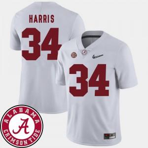2018 SEC Patch #34 Damien Harris Alabama Jersey Mens College Football White 914885-805