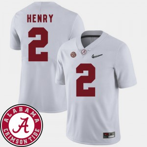For Men White 2018 SEC Patch College Football #2 Derrick Henry Alabama Jersey 301531-209