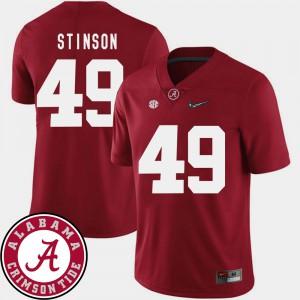 Crimson Ed Stinson Alabama Jersey #49 College Football 2018 SEC Patch Men's 825546-284