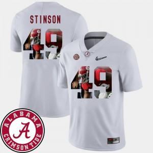 White #49 Ed Stinson Alabama Jersey Mens Pictorial Fashion Football 820016-566