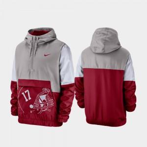 Mens Alabama Jacket Gray Quarter-Zip Colorblock Anorak 874992-872