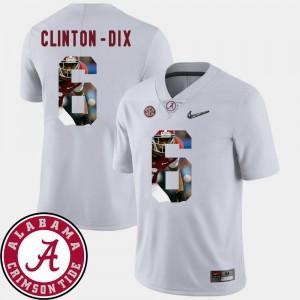 White Football #6 Men's Pictorial Fashion Ha Ha Clinton-Dix Alabama Jersey 462036-528