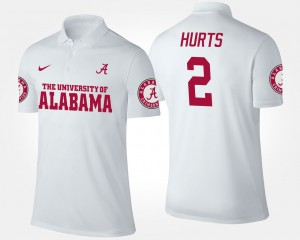 Jalen Hurts Alabama Polo White #2 Men's 758091-468