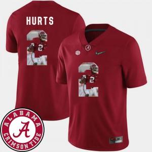 Crimson For Men Football Jalen Hurts Alabama Jersey #2 Pictorial Fashion 230524-576