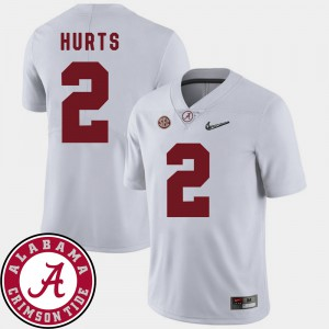 Jalen Hurts Alabama Jersey White Mens 2018 SEC Patch #2 College Football 463215-959