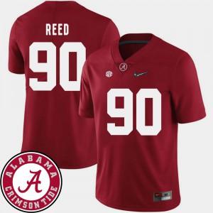 Jarran Reed Alabama Jersey Crimson Men College Football 2018 SEC Patch #90 312836-611