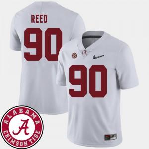 College Football 2018 SEC Patch #90 Jarran Reed Alabama Jersey White Men 489590-274