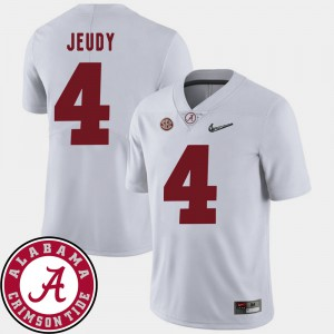 2018 SEC Patch #4 College Football For Men's Jerry Jeudy Alabama Jersey White 162023-532