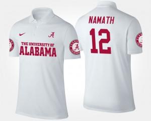 Joe Namath Alabama Polo White #12 Men's 697018-643