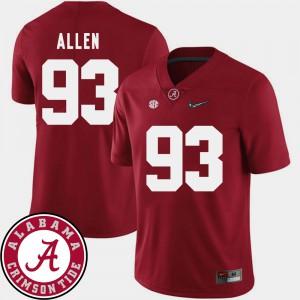 Crimson For Men 2018 SEC Patch College Football Jonathan Allen Alabama Jersey #93 256021-744