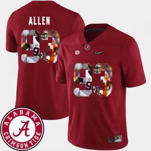 Football #93 Crimson Pictorial Fashion Mens Jonathan Allen Alabama Jersey 482484-428