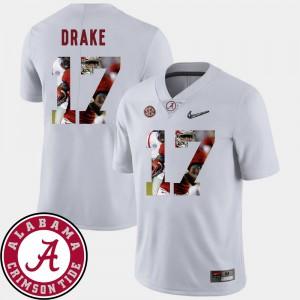 White Football Kenyan Drake Alabama Jersey #17 Pictorial Fashion Men 535897-565