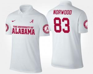 White Mens Kevin Norwood Alabama Polo #83 442240-833