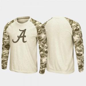 Mens Alabama T-Shirt OHT Military Appreciation Oatmeal Raglan Long Sleeve Desert Camo 182078-667