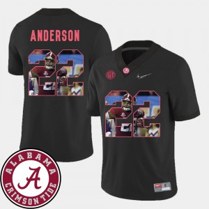 For Men's Pictorial Fashion #22 Football Ryan Anderson Alabama Jersey Black 339036-645
