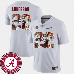 For Men's White Football Pictorial Fashion Ryan Anderson Alabama Jersey #22 930075-733