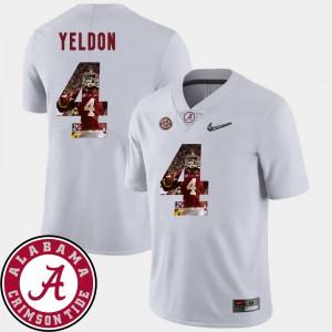 T.J. Yeldon Alabama Jersey White For Men Pictorial Fashion Football #4 240797-421