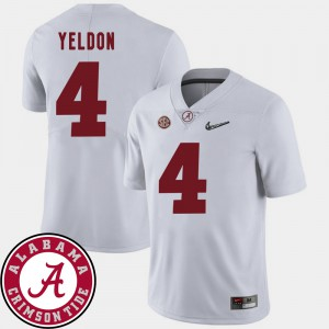 For Men's White T.J. Yeldon Alabama Jersey College Football #4 2018 SEC Patch 436425-256