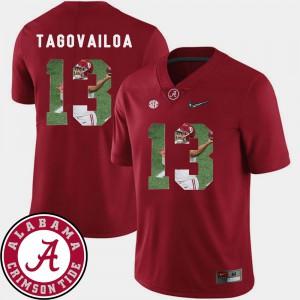#13 Football Tua Tagovailoa Alabama Jersey Pictorial Fashion Crimson For Men's 344409-626